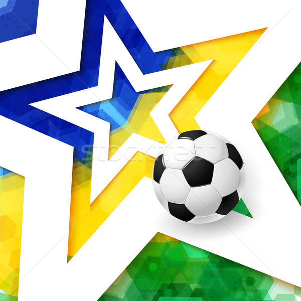 Soccer football poster. Mosaic background in Brazil flag colors, Stock photo © alevtina