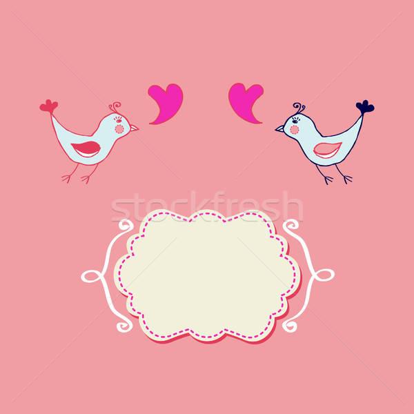 ロマンチックな カード スタイリッシュ 手描き 鳥 カップル ストックフォト © alevtina