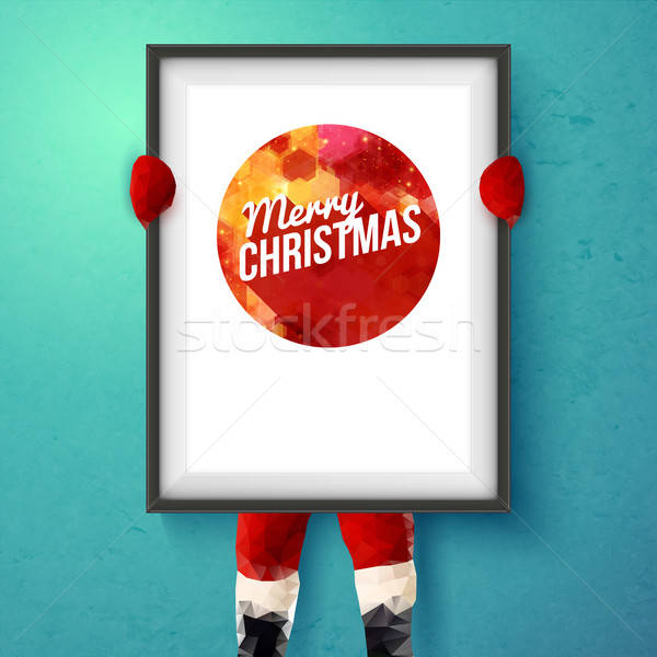 Christmas card. Santa is holding a frame with holiday greetings. Stock photo © alevtina