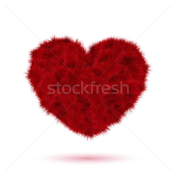 Rood bont hart Valentijn ontwerp textuur Stockfoto © alevtina