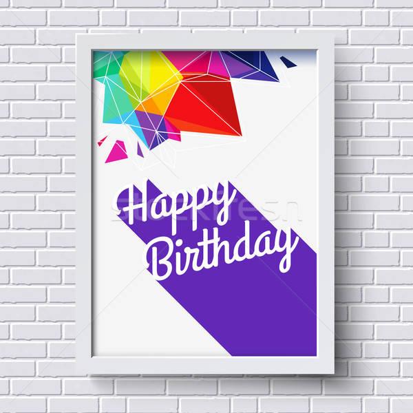 Résumé joyeux anniversaire carte blanche cadre mur de briques Photo stock © alevtina