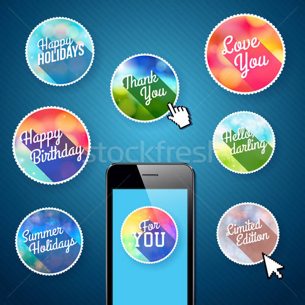 Ingesteld iconen mobiele app business internet Stockfoto © alevtina