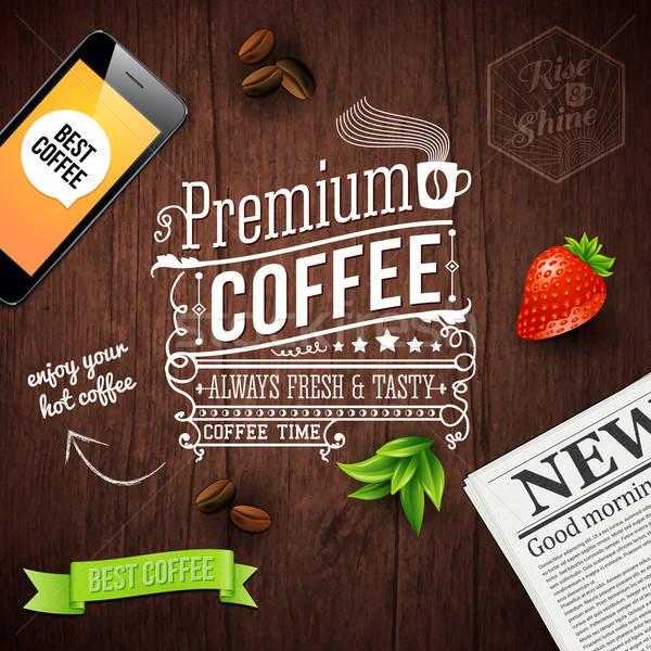Prémium kávé hirdetés poszter tipográfia terv Stock fotó © alevtina