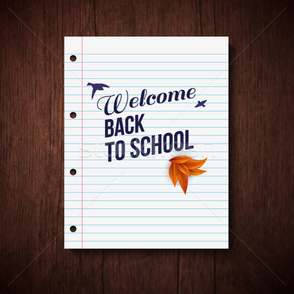Back to school card. Wooden background, typography design. Vecto Stock photo © alevtina