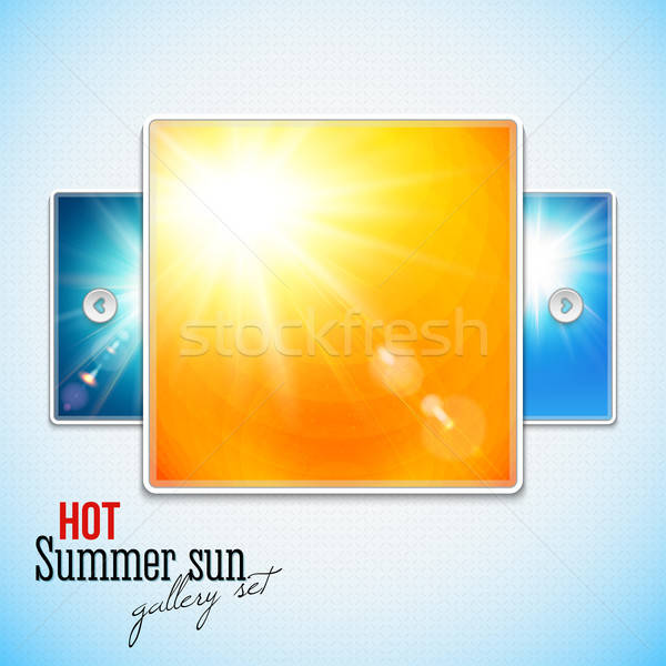 Set of hot shining sun with lens flare. Web slider stylization.  Stock photo © alevtina