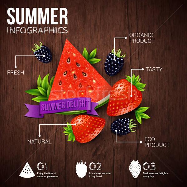 Absztrakt nyár infografika poszter görögdinnye eper Stock fotó © alevtina