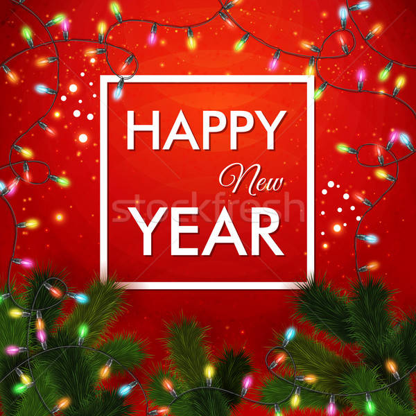 Happy new year 2015 card. Traditional red background with garlan Stock photo © alevtina