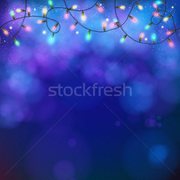 Azul festa luzes bokeh grinalda Foto stock © alevtina