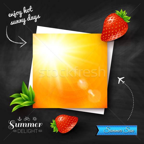 Kaart hot zomer zon schoolbord vector Stockfoto © alevtina