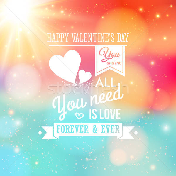 Valentine card, typography style. Soft bokeh background with len Stock photo © alevtina