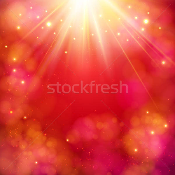 Dynamic red abstract background with sunburst Stock photo © alevtina