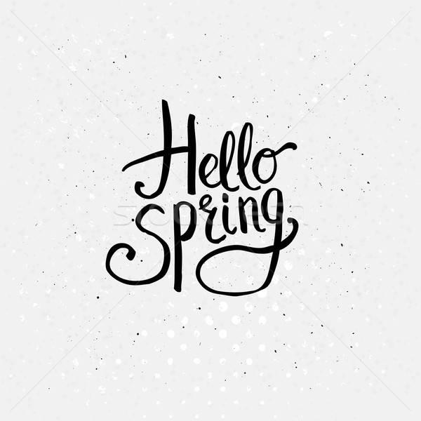 Olá primavera design gráfico simples preto pontilhado Foto stock © alevtina