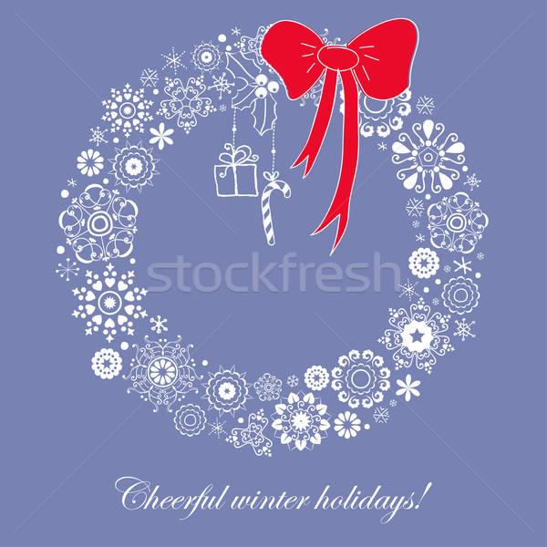 Stockfoto: Christmas · krans · gestileerde · vector · afbeelding
