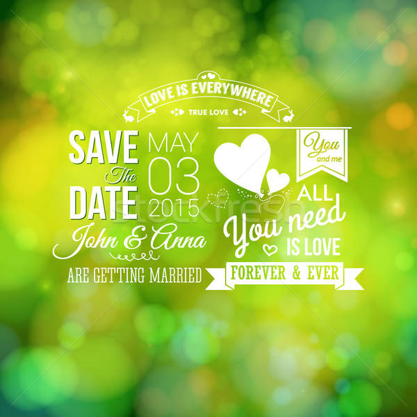 Save the date for personal holiday. Wedding invitation, blurred  Stock photo © alevtina
