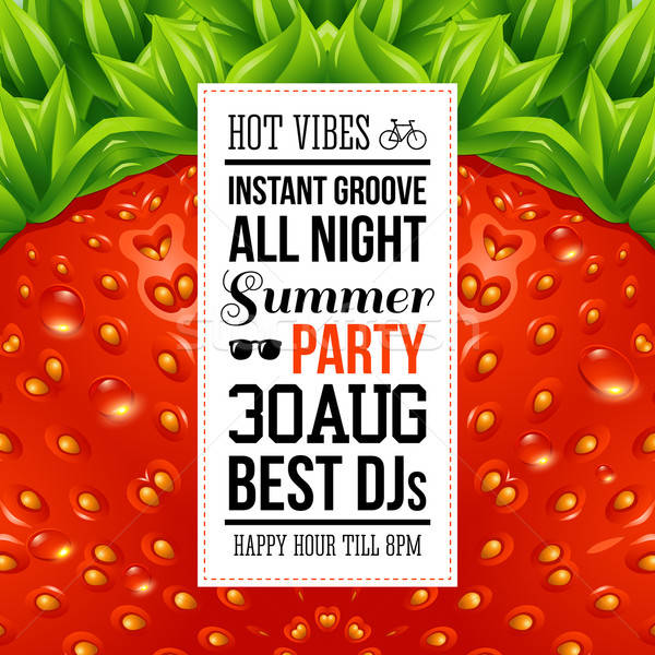 Juicy summer party poster. Optical strawberry background pattern Stock photo © alevtina