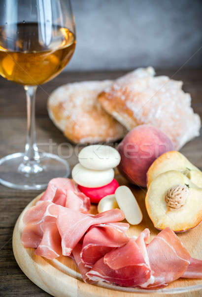 White wine with prosciutto and ciabatta Stock photo © Alex9500