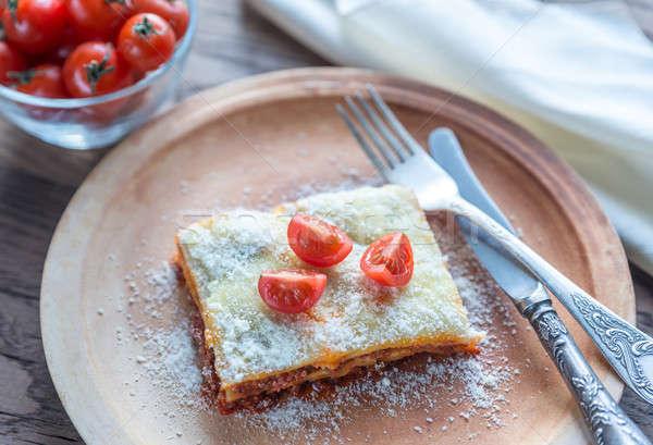 ラザニア チェリートマト プレート 食品 背景 レストラン ストックフォト © Alex9500