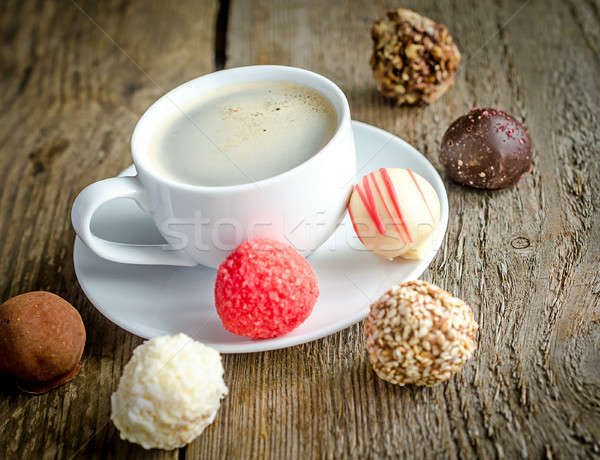 Luxury chocolate candies and cup of coffee Stock photo © Alex9500