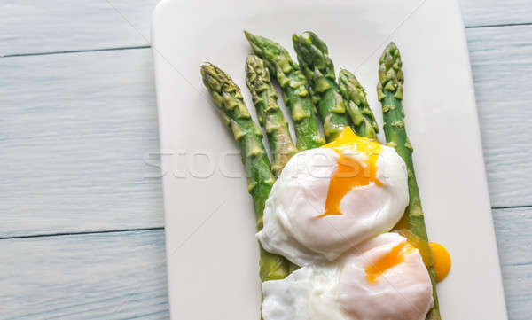 Gestoomd asperges eieren plaat eten boord Stockfoto © Alex9500