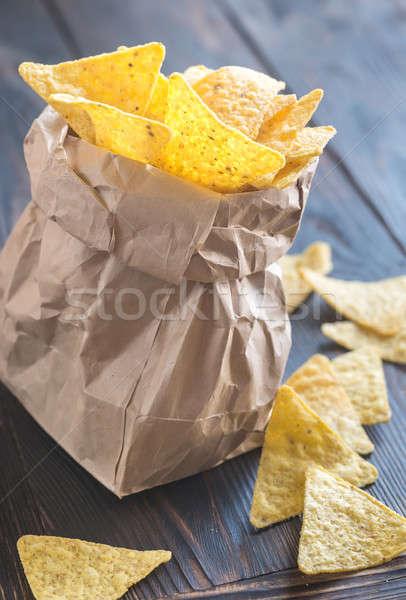 Nachos fondo maíz grasa rápido Foto stock © Alex9500