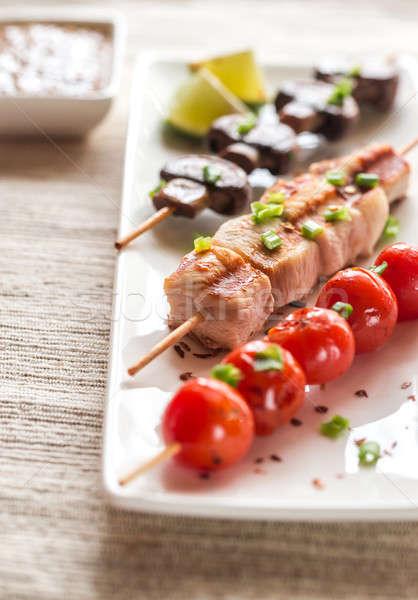 Gegrilde kip groenten kip Rood witte lunch Stockfoto © Alex9500