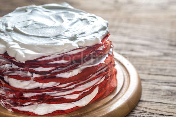 Red velvet crepe cake on the wooden board Stock photo © Alex9500