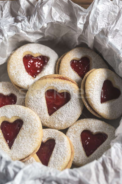 Stockfoto: Hart · cookies · aardbei · vulling · liefde