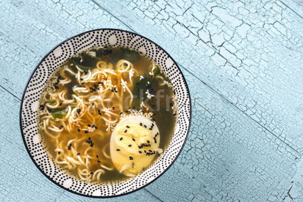 Tál ramen leves étel tyúk kék Stock fotó © Alex9500
