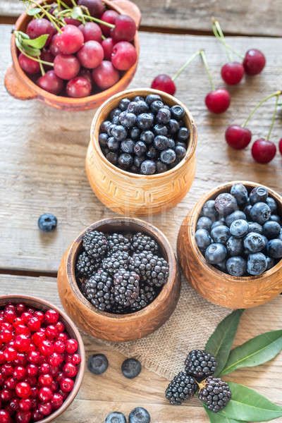 Bowl of blackberries on the wooden table Stock photo © Alex9500