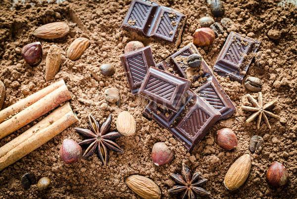 Stock fotó: Csokoládé · csendélet · fa · kávé · bár · kocka