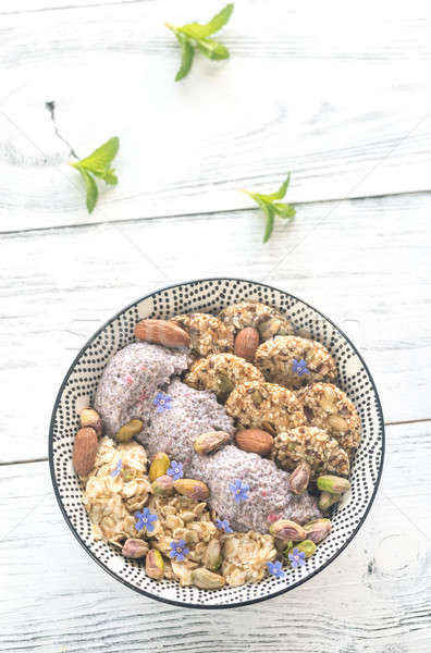 Stock photo: Oats with chia pudding and cereal cookies