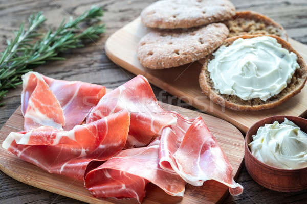 Slices of jamon and sandwich with cream cheese Stock photo © Alex9500