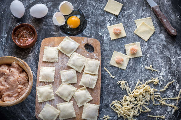 Ingredients for cooking ravioli on the wooden board Stock photo © Alex9500
