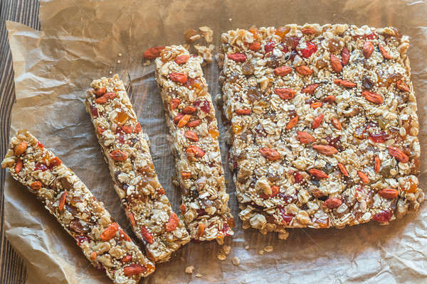 Homemade granola bars on the baking paper Stock photo © Alex9500