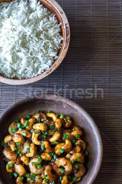 Portion of cashew shrimp stir-fry with rice Stock photo © Alex9500