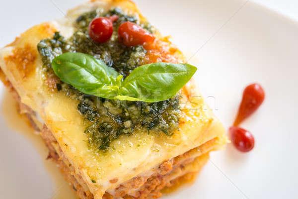 Lasagna pesto alimentare foglia ristorante verde Foto d'archivio © Alex9500