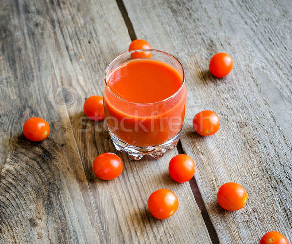 Paradicsomlé koktélparadicsom étel üveg háttér asztal Stock fotó © Alex9500
