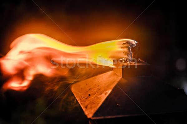 Burning tiki torch in the backyard Stock photo © Alex9500