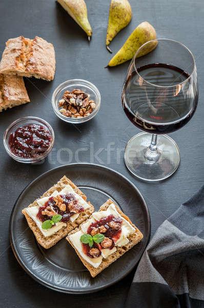 ストックフォト: パン · カマンベール · チーズ · ジャム · 食品 · フルーツ
