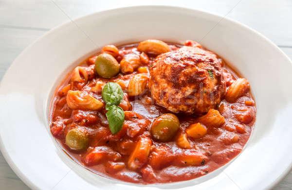 Porción sopa restaurante mesa verde pollo Foto stock © Alex9500