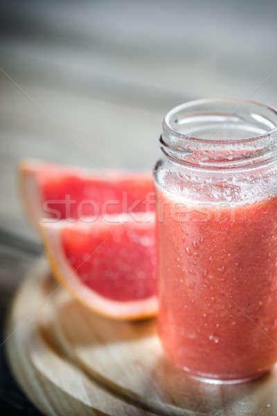 Verre jar pamplemousse smoothie boire couleur Photo stock © Alex9500