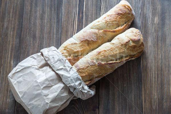 два багеты сумку завтрак белый Сток-фото © Alex9500