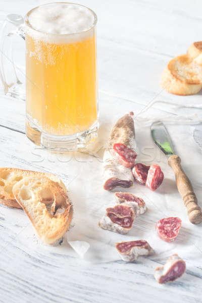 Bögre sör étel kés szendvics rózsaszín Stock fotó © Alex9500