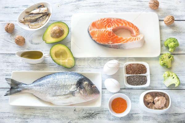 Voedsel omega3 vis achtergrond tabel groep Stockfoto © Alex9500