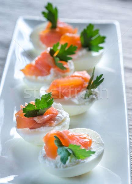 Stok fotoğraf: Somon · krem · peynir · yumurta · gıda · yumurta