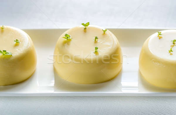 Vanilla puddings decorated with fresh mint Stock photo © Alex9500