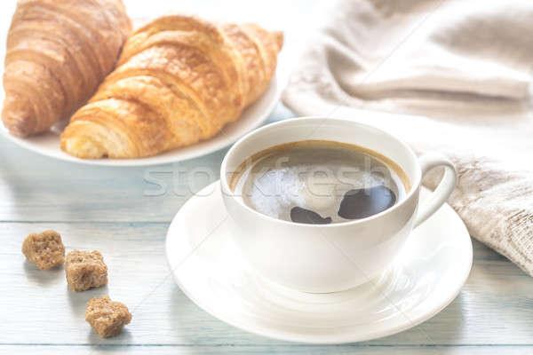 クロワッサン カップ コーヒー 背景 表 パン ストックフォト © Alex9500