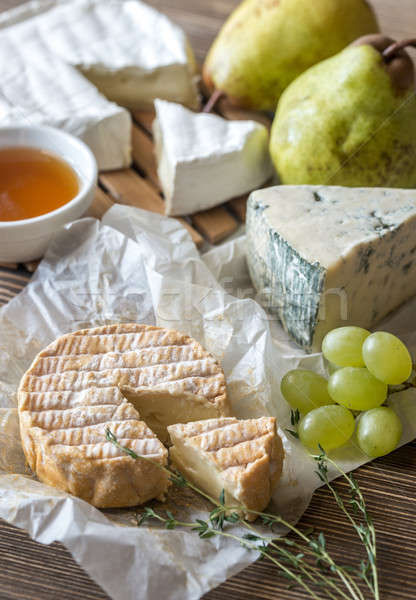 Moldy cheese with pears and grape Stock photo © Alex9500