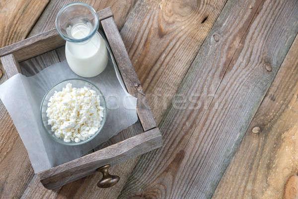 Tigela requeijão garrafa leite papel comida Foto stock © Alex9500
