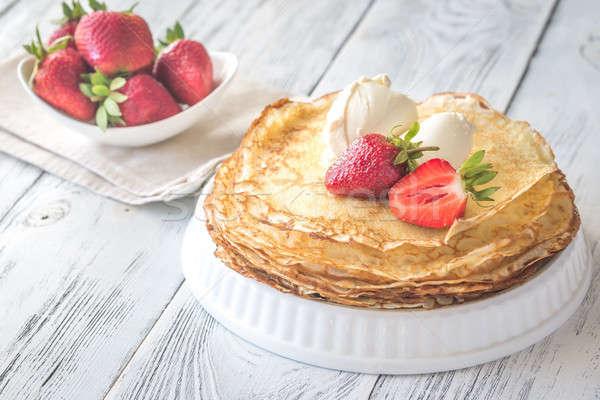 Krém sajt friss eprek étel asztal Stock fotó © Alex9500